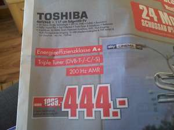 "[lokal Mönchengladbach] Toshiba 46"" full Hd 3D LED TV nächster Preis Idealo 652.99€"