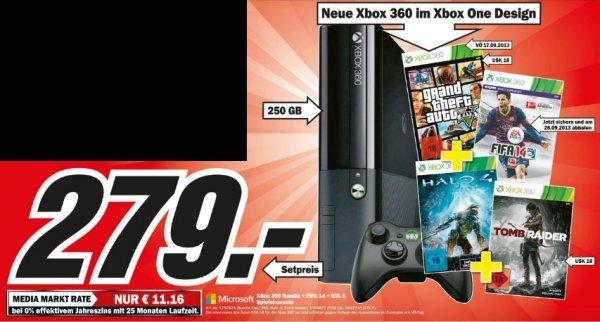 Xbox 360  im Xbox ONE Design mit 250GB + GTA5 + Fifa 14 + Halo 4 + Tombraider + Controller in allen NRW Mediamärkten für 279 Euro