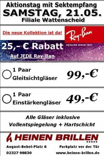 25€ Rabatt auf jede Ray-Ban Brille, Samstag 21.05 [Lokal] Bochum