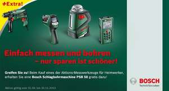 svh24.de: Bosch Gratis-Schlagbohrmaschine beim Kauf eines Messtechnik Produkts von Bosch ab 99,99Euro
