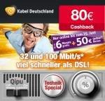 Kabel Deutschland mit 50€ Online-Vorteil + 50€ Amazon Gutschein+ 80€ Cashback von Qipu + bis zu 6 Gratis Monate