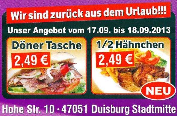 Duisburg City - Döner 1€ günstiger als sonst - NUR 17./18.09.2013