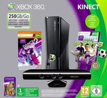RAKUTEN SUPER SALE - Xbox 360, 250 GB, inklusive Kinect Sensor und den Spielen Adventures, Dance Central und Sports