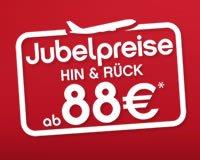 AirBerlin Jubelpreise ab 88 EUR (kombinierbar mit den 10€ Gutscheinen)