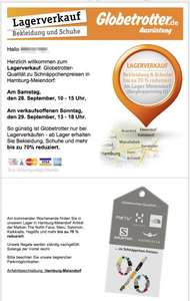 [LOKAL Hamburg, OFFLINE] Globetrotter Lagerverkauf Sa. 28. & So 29.09.2013