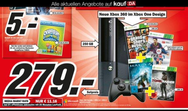 (Lokal NRW) Xbox 360.E (im Xbox One Design) mit 250GB im Bundle: 1 Controller, GTA 5, Fifa 14, Halo 4, Tomb Raider @Media Markt