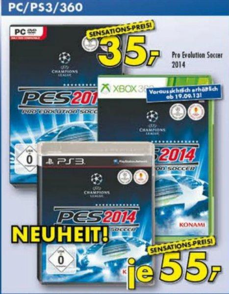 Pro Evolution Soccer 2014 (PC) für 35€ und (360/PS3) für 55€