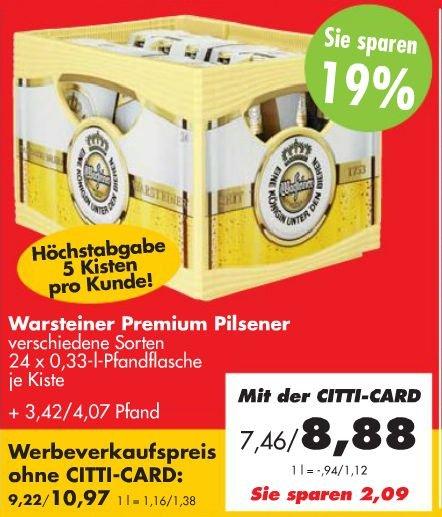 1 Kiste Warsteiner Premium Pilsener (24x0,33l) für €8,88 [@Citti-Markt]