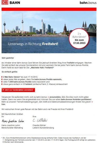 1500 bahn.bonus-Punkte (eine Freifahrt 2. Klasse) für 50,- EUR