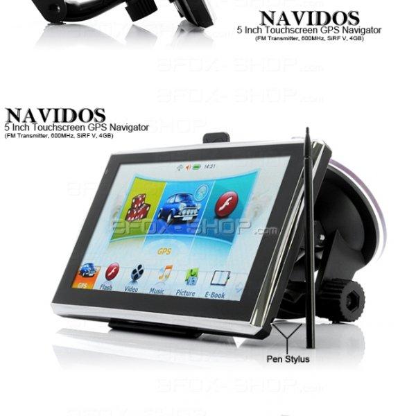 [Efoxshop] 5 Zoll TFT Touchscreen GPS Navigator -4GB FM Transmitter 600 MHz