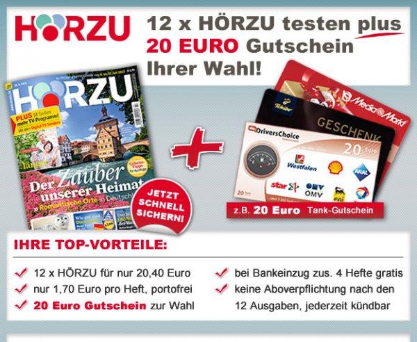 HÖRZU testen und 20 Euro Tchibo, Media Markt-Geschenkkarte oder Tankgutschein aussuchen