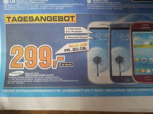 Samsung Galaxy S3 16GB weiß, rot und blau - 299 Euro Freitag 20.09 Saturn Dortmund, Soest, Lünen