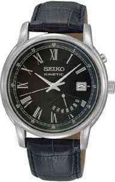 Seiko Herren-Armbanduhr XL Kinetic Analog Leder SRN035P1