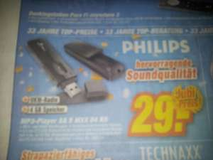 (Lokal) Philips MP3-Player SA5MXX04KN für 29€, idealo 44€+Versand @TeVi-Markt in Neumarkt