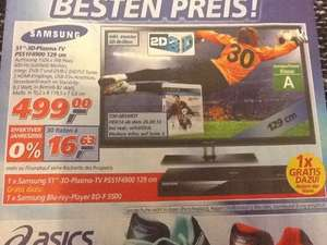 "(Offline REAL) 51"" Samsung 3D-Plasma-TV + Gratis Samsung Blu-ray-Player"