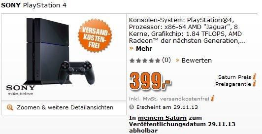 [Vorbestellung] PS4 bei Saturn zum 29.11.13 wieder verfügbar.
