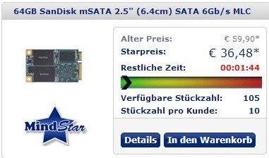 SanDisk X110 64GB, mSATA 6Gb/s (SD6SF1M-064G) statt 60,13€ ab 36,48€