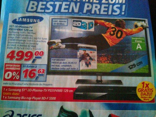 """51"""" Samsung 3D-Plasma-TV PS51F4900"""