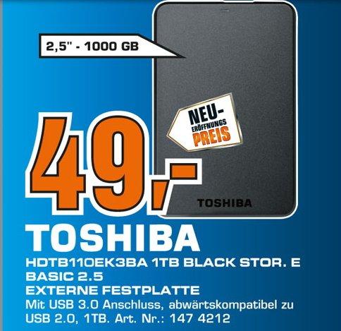 [ LOKAL Saturn Paderborn ] Toshiba STOR.E Basics 1TB externe Festplatte (6,4 cm (2,5 Zoll) USB 3.0) schwarz 49€ und 2TB für 89€