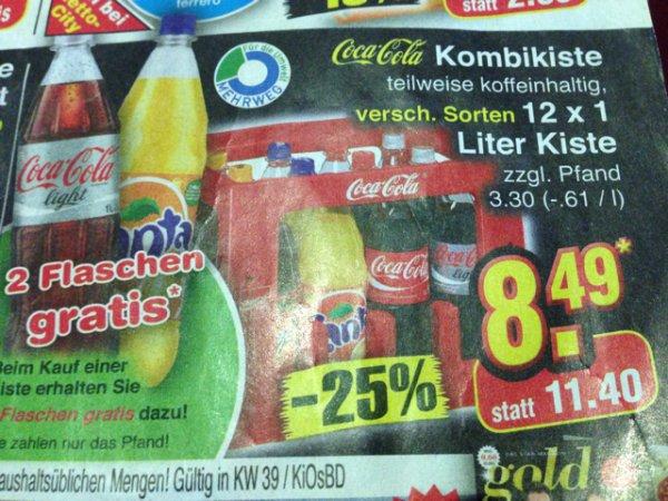 [Netto] Coca Cola Kombikiste 12 x 1 Liter + 2 Flaschen gratis