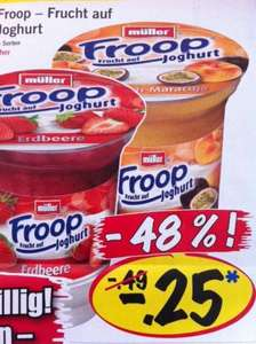 Müller Froop 150g Becher nur 0,25 EUR! (Normalpreis 0,49 - 0,59 EUR) @LIDL bundesweit + REMINDER