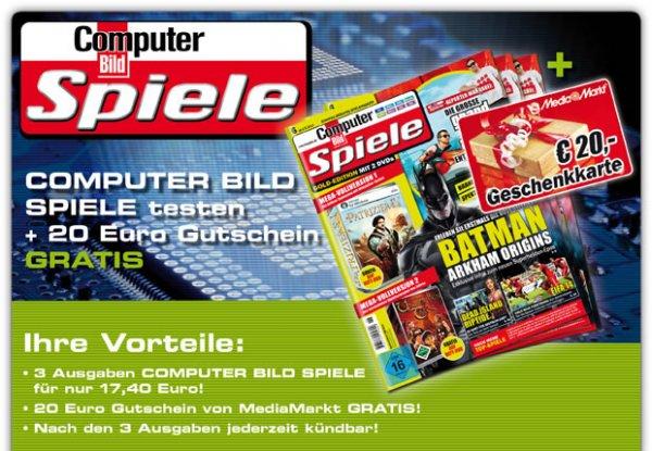 3 Monate Computer Bild Spiele testen + 20€ Media Markt Gutschein kostenlos