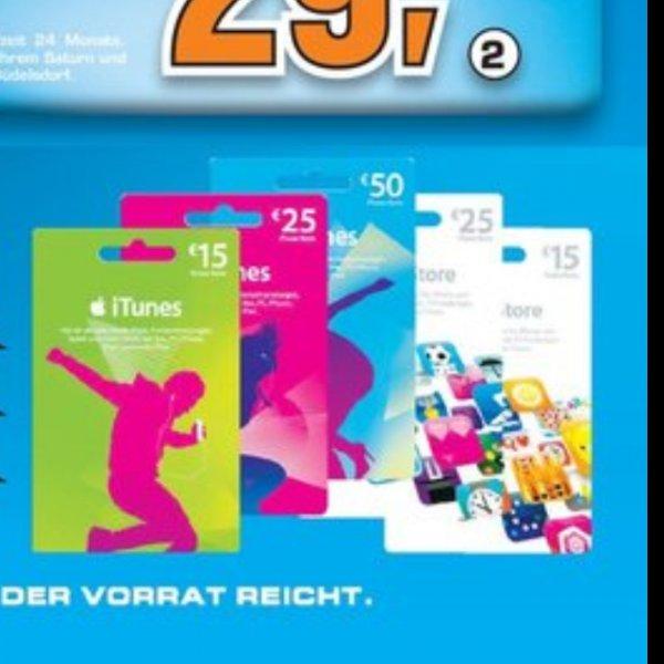 [Bundesweit] 20% auf iTunes Guthabenkarten bei Saturn z.B 50€ Karte = 40€