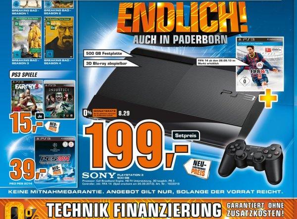 Lokal Paderborn Saturn PS3 SuperSlim 500GB inkl. FIFA14 für 199,-€