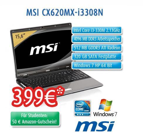 MSI 15,6'' Einsteigernotebook mit Grafikkarte und Win7 HP für 399€
