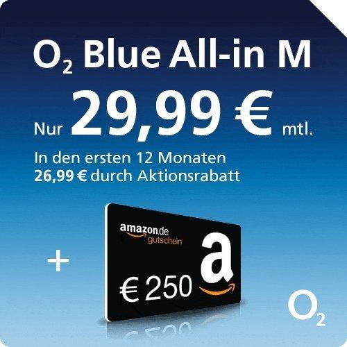[ 250€ Amazon Gutschein] O2 All-in-M (Allnet Flat + 500MB LTE) für 26,99€ / 29,00€