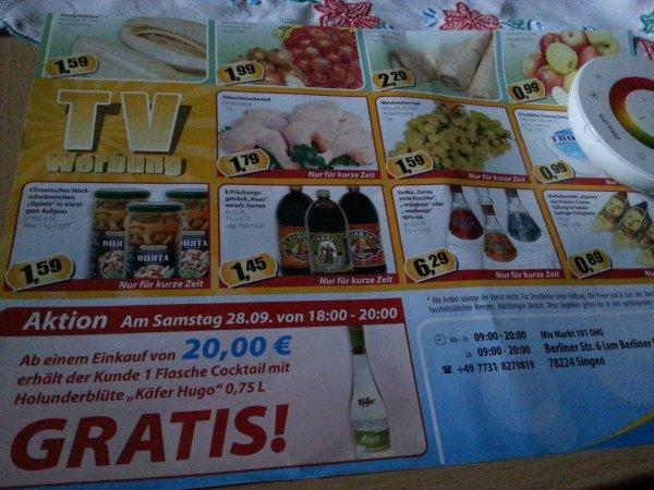 [Lokal] 1 Flasche Käfer Hugo gratis ab 20 Euro @Mix Markt Singen