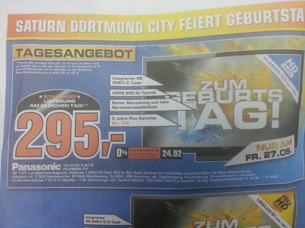 Panasonic TX-P 42 X 60 für 295 eur saturn dortmund city