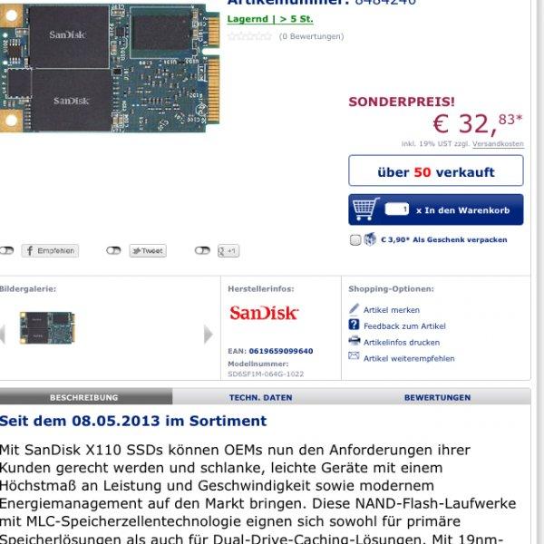 SanDisk X110 SSD 64gb