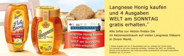 Langnese Honig kaufen und 4x gratis WELT am SONNTAG erhalten (Belieferung endet automatisch)