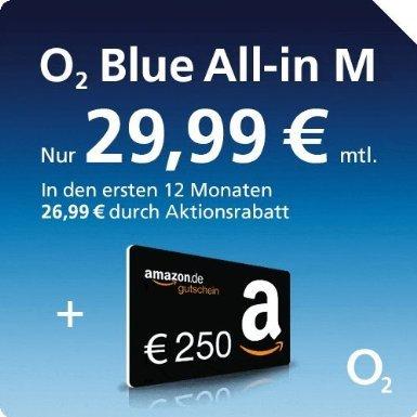 250 Euro Amazon Gutschein bei Abschluss eines o2 Blue All-In M + die ersten 12 Monate für 26,99