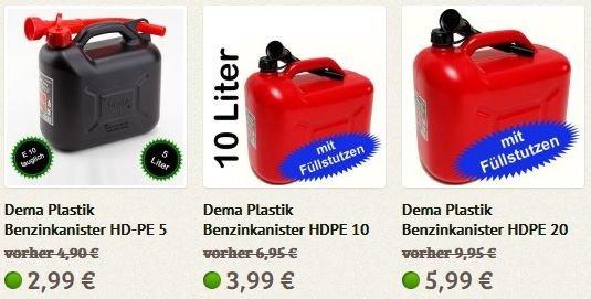 [STABILO Baumarkt] Benzin-Kanister 5L/10L/20L für 2,99€/3.99€/5,99€ inkl. Füllstutzen