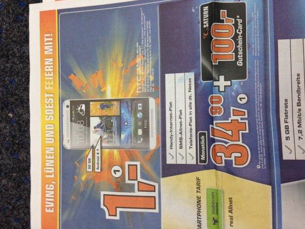 (Saturn Dortmund) HTC ONE 32 GB inkl. Allnet Flat (D-Netz)+ 100€ Warengutschein