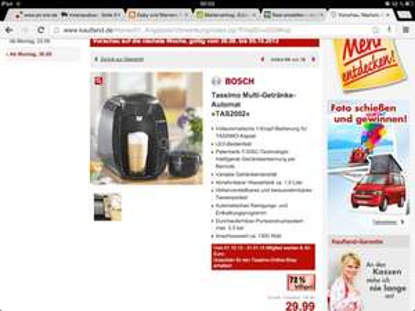 [Lokal Köln] Kaufland Tassimo Deal TAS2002 für 29,99€ inkl.40€ Tassimo Shop Gutschein