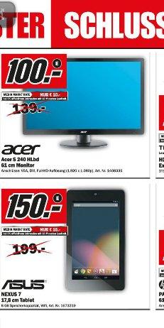 Media Markt Landau: Google Nexus 7 8Gb Wifi für 150€/  Acer 240 S HLbd  (24Zoll, Slim-Design)  für 100€