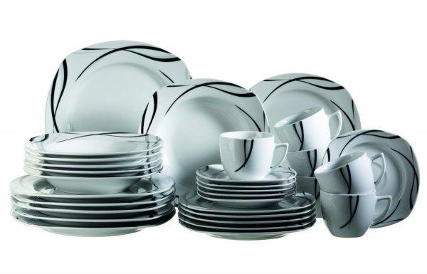 Domestic 920463 Oslo Porzellan Kombiservice 30-teilig mit je 6 Tassen, Untertassen, Dessertteller,Teller tief, Teller flach für39,96€ inkl. Versand @ Amazon.de