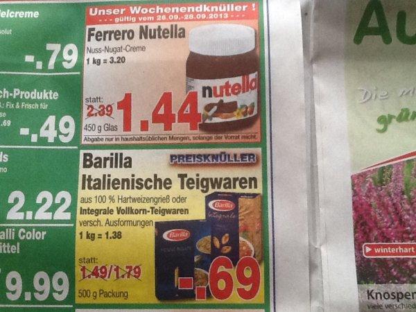 [Kaufpark Bochum REWE Bundesweit] Nutella 450g für 1,44€ / Barilla Nudeln 500g 0,69€