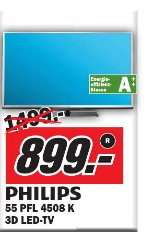 [Media Markt Münster]  Philips 55PFL4508K 140 cm (55 Zoll) 3D-LED-Backlight-Fernseher, EEK A++ (Full HD, 200Hz PMR, DVB-T/C/S, CI+, WLAN, Smart TV, HbbTV)