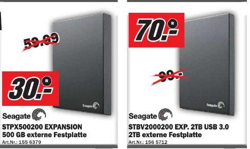 [Media Markt Papenburg ]  Seagate Expansion  Festplatte 2,5 Zoll 500GB  30€ / Seagate Expansion 3,5 Zoll  2TB  70€    / TOSHIBA STOR.E Canvio 3,5 Zoll  3TB 80€
