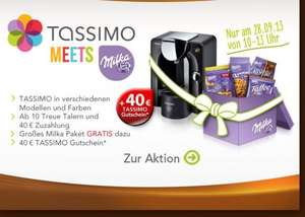"Bosch™ - Tassimo Getränkeautomat ""AMIA"",""FIDELIA+"",""JOY"",""CHARMY"" + 4tlg. Milka-Paket + €40.- Shopgutschein ab €40.- [@Beiunszuhause.de]"