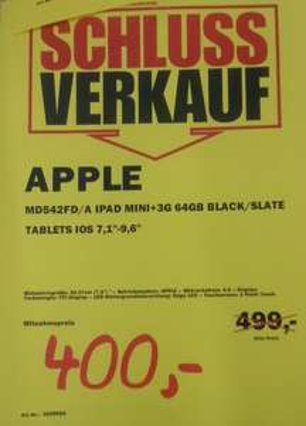 [Lokal Berlin] Media Markt Rathaus Steglitz - Schlussverkauf z.B. iPad mini 64 GB 3G - 400 Euro