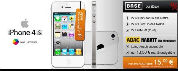 Apple iPhone 4S für 0€ mit BASE Pur DUO für 13,50€ mtl. für ADAC Mitglieder