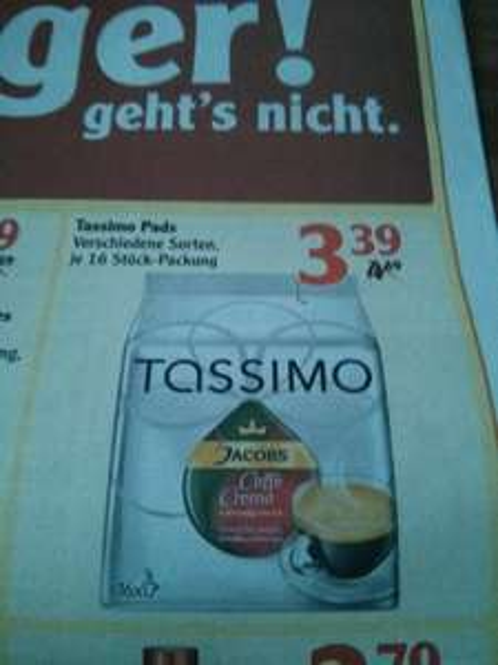[Lokal? Globus Idar-Oberstein]Tassimo Pads für 3,39€ je Packung