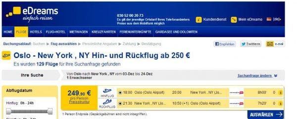 Flug nach New York ab Oslo im Dezember für 250€