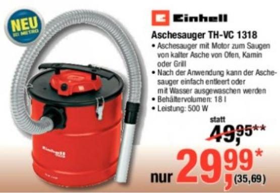 [METRO] Einhell Aschesauger mit Motor für 35,96€ vgl. Preis 44,90€
