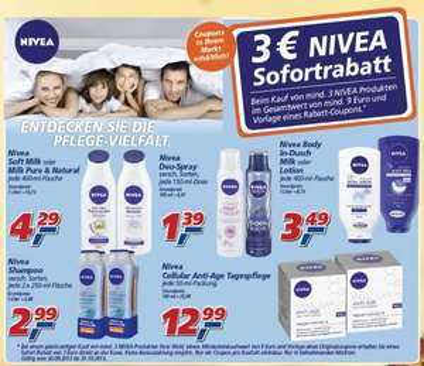 NIVEA 3 Euro Sofortrabatt bei 9 Euro Einkaufswert - [REAL] Nivea Deo ab 0,96 Euro